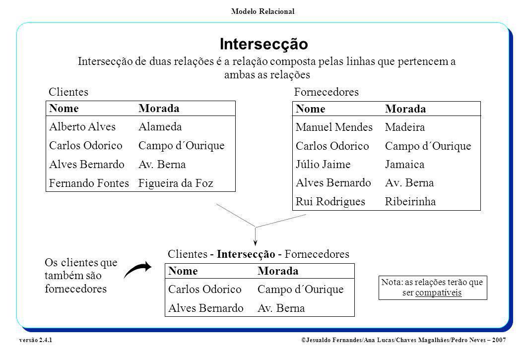 Modelo Relacional ©Jesualdo Fernandes/Ana Lucas/Chaves Magalhães/Pedro Neves – 2007versão 2.4.1 Intersecção Intersecção de duas relações é a relação c
