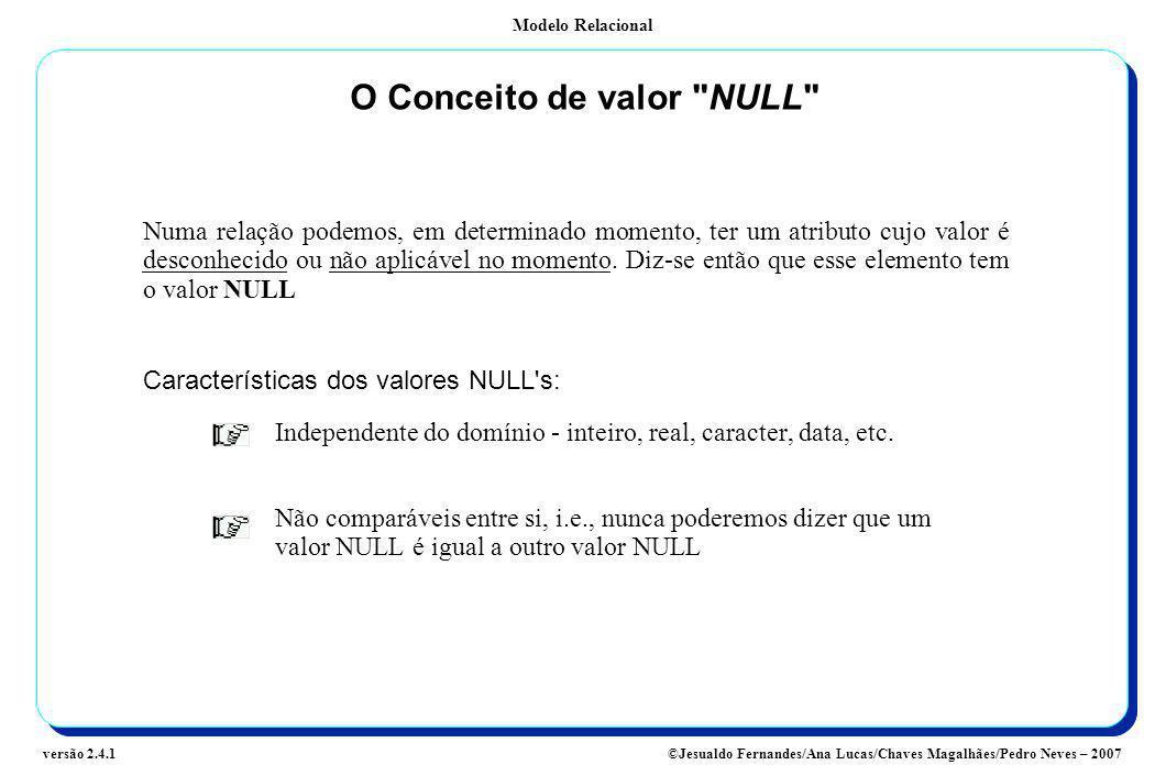 Modelo Relacional ©Jesualdo Fernandes/Ana Lucas/Chaves Magalhães/Pedro Neves – 2007versão 2.4.1 O Conceito de valor
