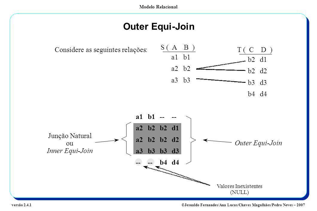 Modelo Relacional ©Jesualdo Fernandes/Ana Lucas/Chaves Magalhães/Pedro Neves – 2007versão 2.4.1 Outer Equi-Join Considere as seguintes relações: a1b1