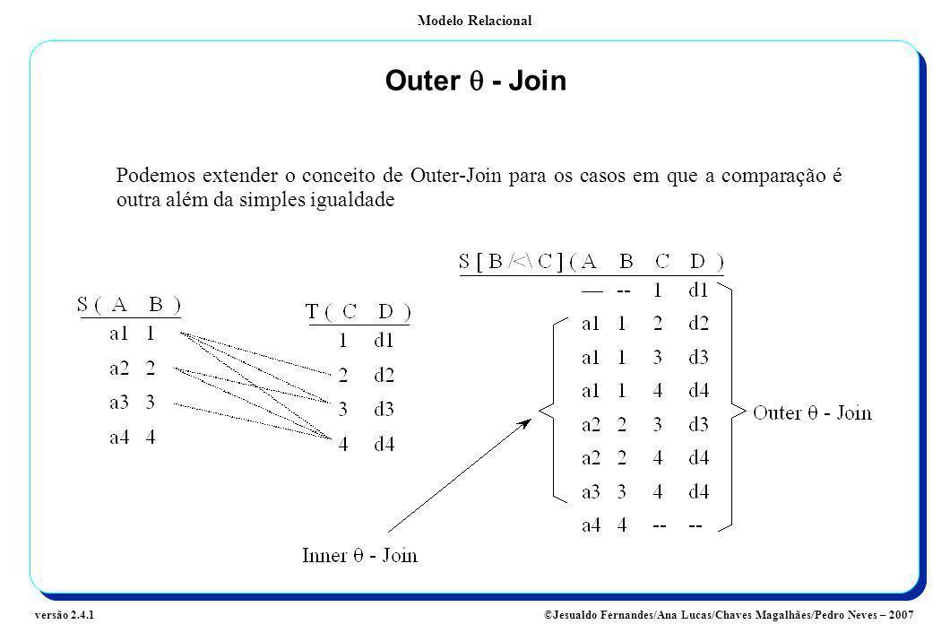 Modelo Relacional ©Jesualdo Fernandes/Ana Lucas/Chaves Magalhães/Pedro Neves – 2007versão 2.4.1 Outer - Join Podemos extender o conceito de Outer-Join