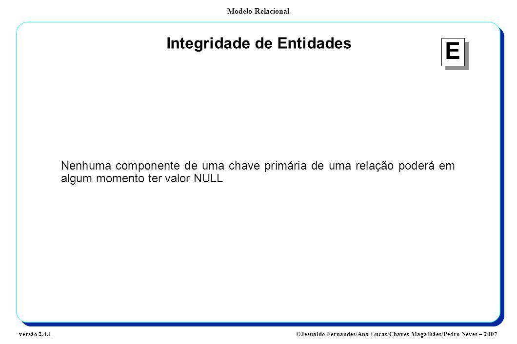 Modelo Relacional ©Jesualdo Fernandes/Ana Lucas/Chaves Magalhães/Pedro Neves – 2007versão 2.4.1 Integridade de Entidades Nenhuma componente de uma cha