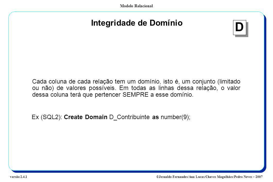 Modelo Relacional ©Jesualdo Fernandes/Ana Lucas/Chaves Magalhães/Pedro Neves – 2007versão 2.4.1 Integridade de Domínio Cada coluna de cada relação tem