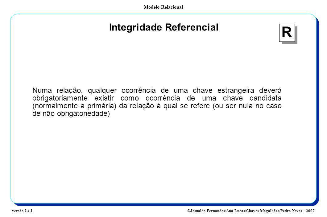 Modelo Relacional ©Jesualdo Fernandes/Ana Lucas/Chaves Magalhães/Pedro Neves – 2007versão 2.4.1 Integridade Referencial Numa relação, qualquer ocorrên