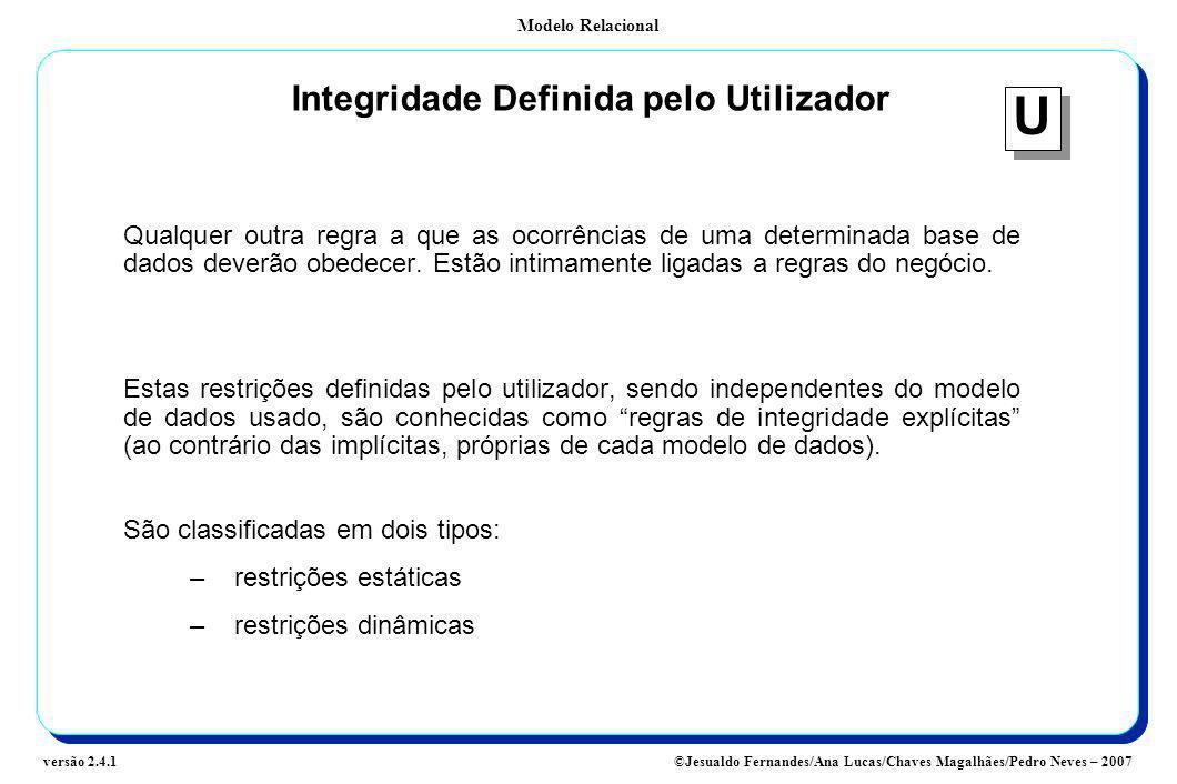 Modelo Relacional ©Jesualdo Fernandes/Ana Lucas/Chaves Magalhães/Pedro Neves – 2007versão 2.4.1 Integridade Definida pelo Utilizador Qualquer outra re