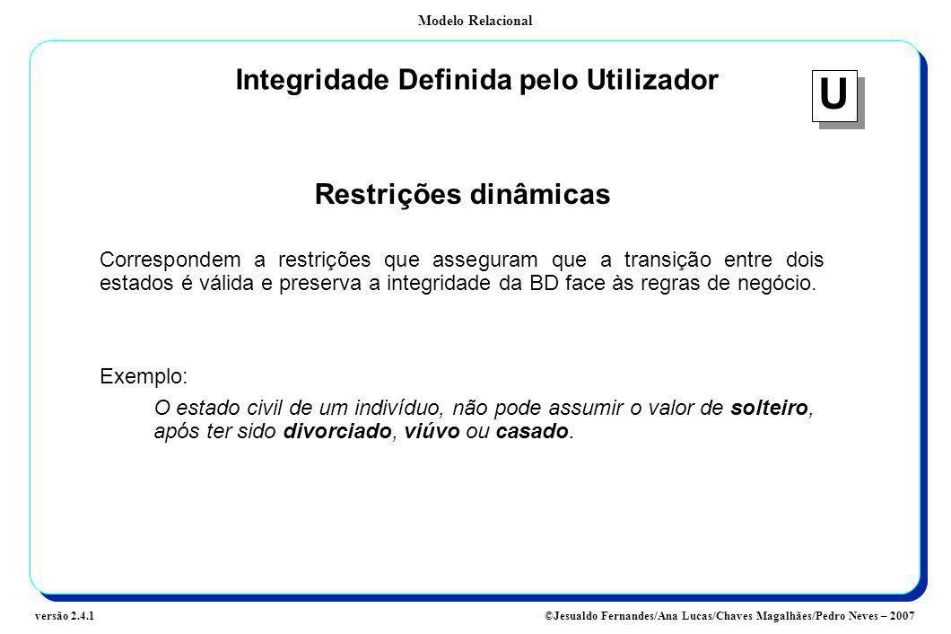 Modelo Relacional ©Jesualdo Fernandes/Ana Lucas/Chaves Magalhães/Pedro Neves – 2007versão 2.4.1 Integridade Definida pelo Utilizador Restrições dinâmi