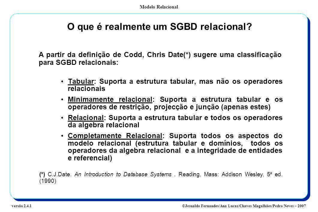 Modelo Relacional ©Jesualdo Fernandes/Ana Lucas/Chaves Magalhães/Pedro Neves – 2007versão 2.4.1 O que é realmente um SGBD relacional? A partir da defi