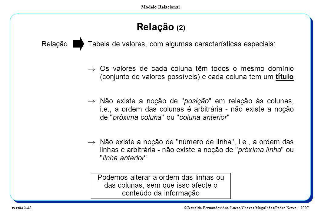 Modelo Relacional ©Jesualdo Fernandes/Ana Lucas/Chaves Magalhães/Pedro Neves – 2007versão 2.4.1 Relação (2) Relação Tabela de valores, com algumas car