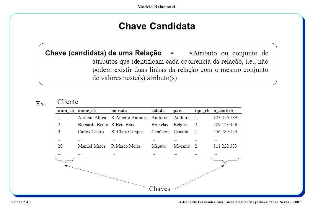 Modelo Relacional ©Jesualdo Fernandes/Ana Lucas/Chaves Magalhães/Pedro Neves – 2007versão 2.4.1 Chave Candidata Chave (candidata) de uma Relação Atrib