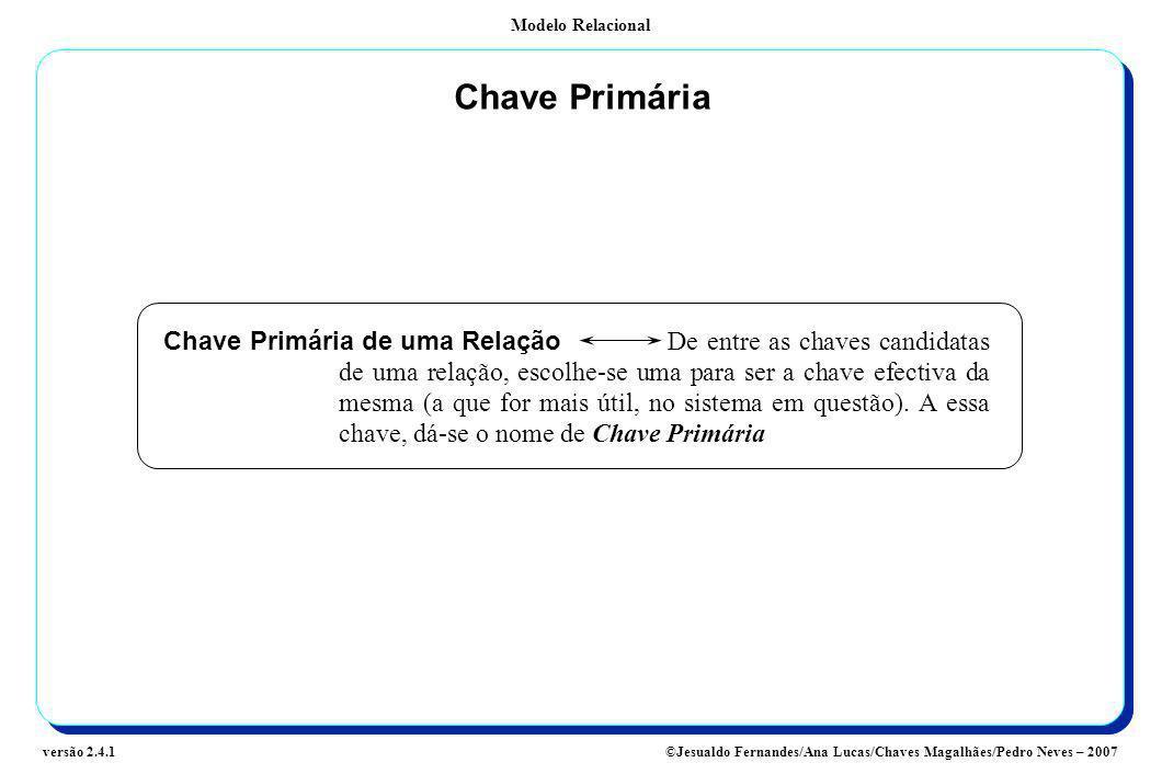 Modelo Relacional ©Jesualdo Fernandes/Ana Lucas/Chaves Magalhães/Pedro Neves – 2007versão 2.4.1 Chave Primária Chave Primária de uma Relação De entre