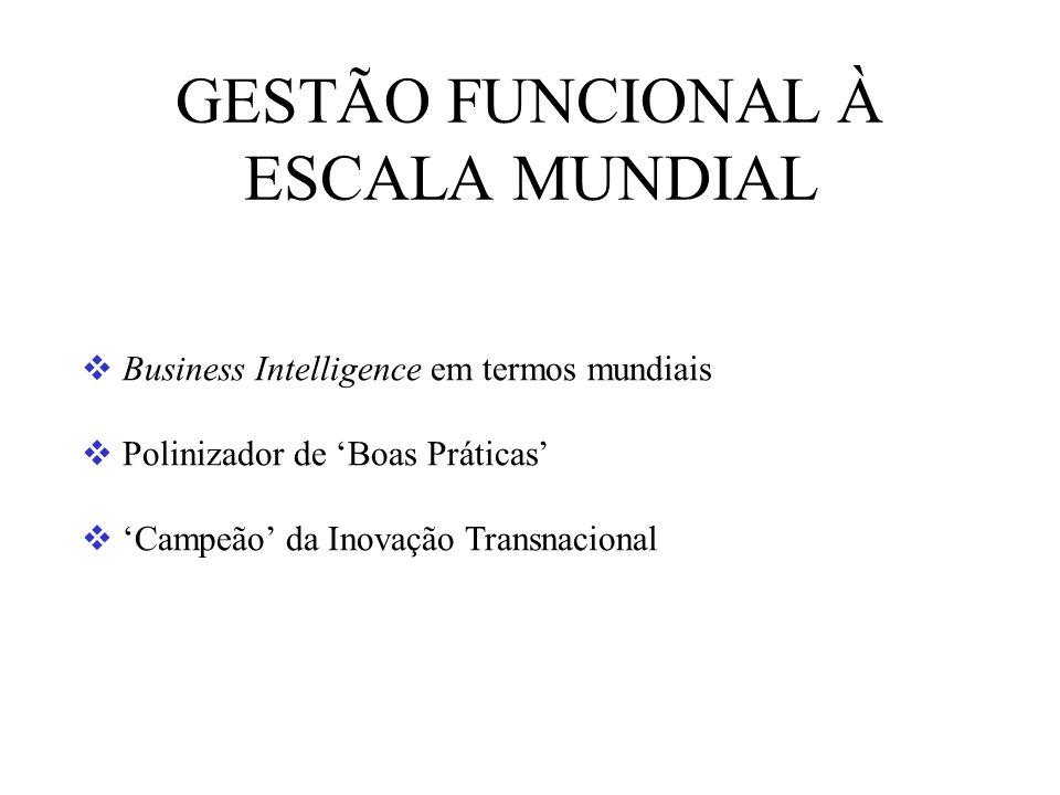 GESTÃO FUNCIONAL À ESCALA MUNDIAL Business Intelligence em termos mundiais Polinizador de Boas Práticas Campeão da Inovação Transnacional