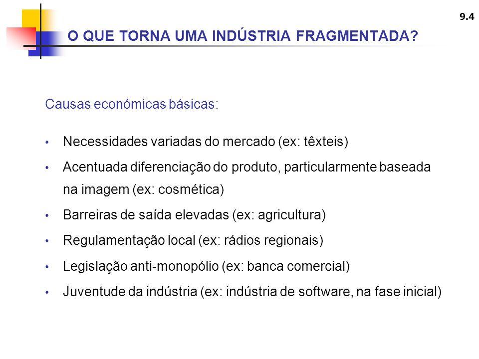 9.4 Causas económicas básicas: Necessidades variadas do mercado (ex: têxteis) Acentuada diferenciação do produto, particularmente baseada na imagem (e