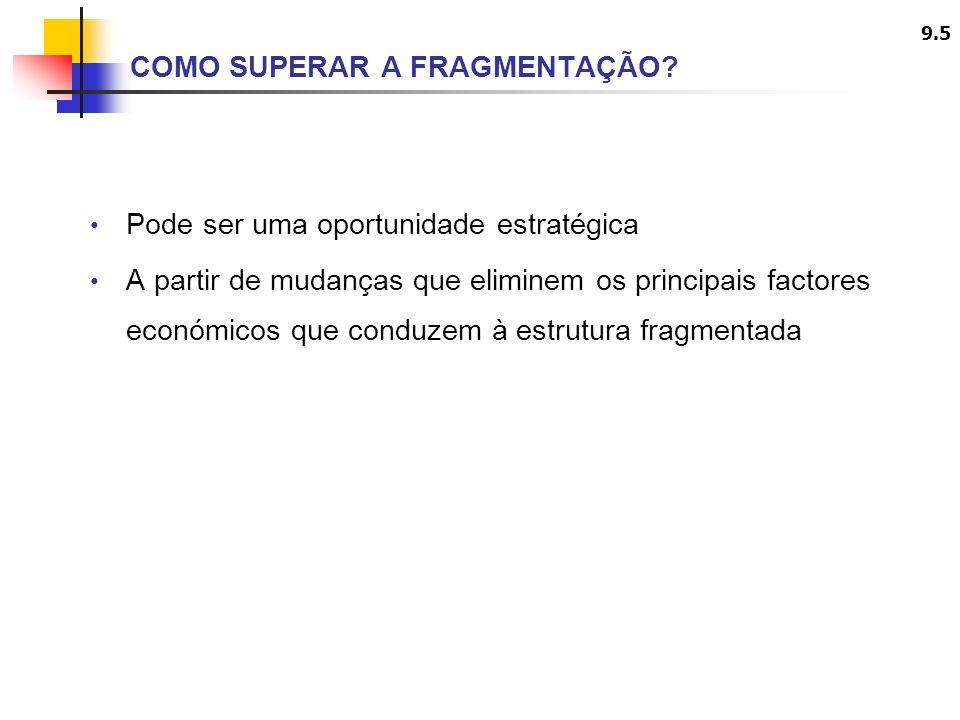 9.6 MÉTODOS COMUNS PARA SUPERAÇÃO DA FRAGMENTAÇÃO Gerar economias de escala ou curva de experiência Inovação na produção, marketing, etc.