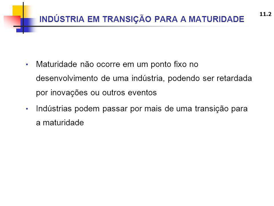 11.2 INDÚSTRIA EM TRANSIÇÃO PARA A MATURIDADE Maturidade não ocorre em um ponto fixo no desenvolvimento de uma indústria, podendo ser retardada por in