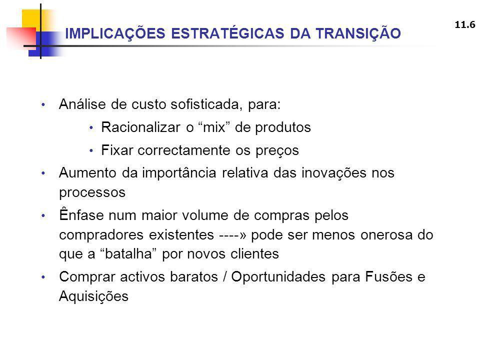 11.6 IMPLICAÇÕES ESTRATÉGICAS DA TRANSIÇÃO Análise de custo sofisticada, para: Racionalizar o mix de produtos Fixar correctamente os preços Aumento da