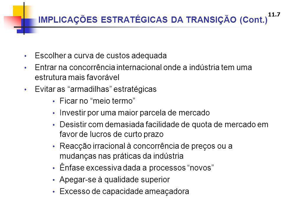 11.7 IMPLICAÇÕES ESTRATÉGICAS DA TRANSIÇÃO (Cont.) Escolher a curva de custos adequada Entrar na concorrência internacional onde a indústria tem uma e