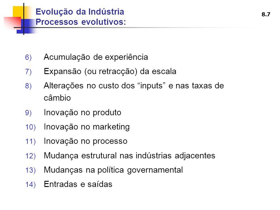 8.7 6) Acumulação de experiência 7) Expansão (ou retracção) da escala 8) Alterações no custo dos inputs e nas taxas de câmbio 9) Inovação no produto 1