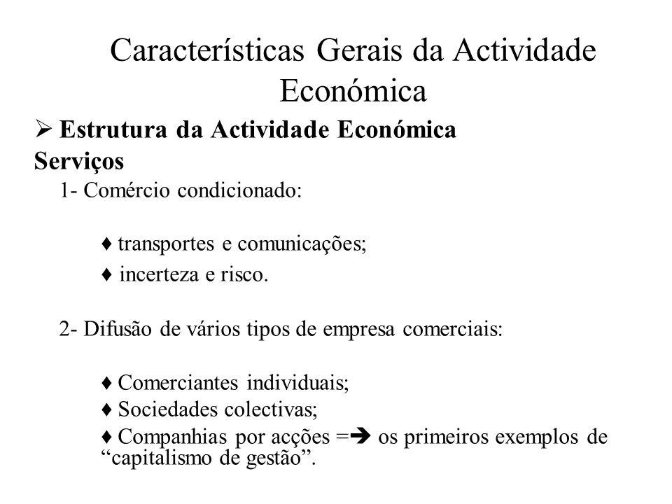Características Gerais da Actividade Económica Estrutura da Actividade Económica Serviços 3 – Sector financeiro Banqueiros (Fugger, Rothschild, Morgan,...) ; Casas Bancárias; As Bolsas de Valores: - Bolsa de Amsterdão (1632) - Bolsa de Londres (1702) - Bolsa de Nova York (1792) - Bolsa de Lisboa (1769).