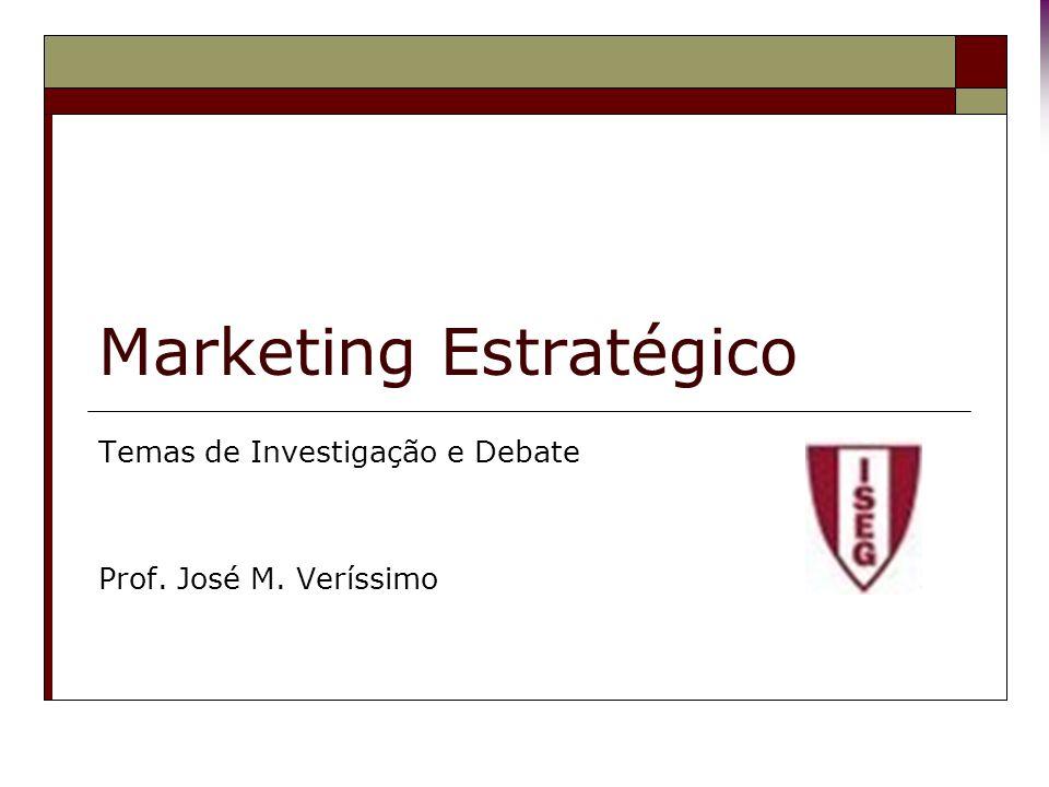 Marketing Estratégico Temas de Investigação e Debate Prof. José M. Veríssimo