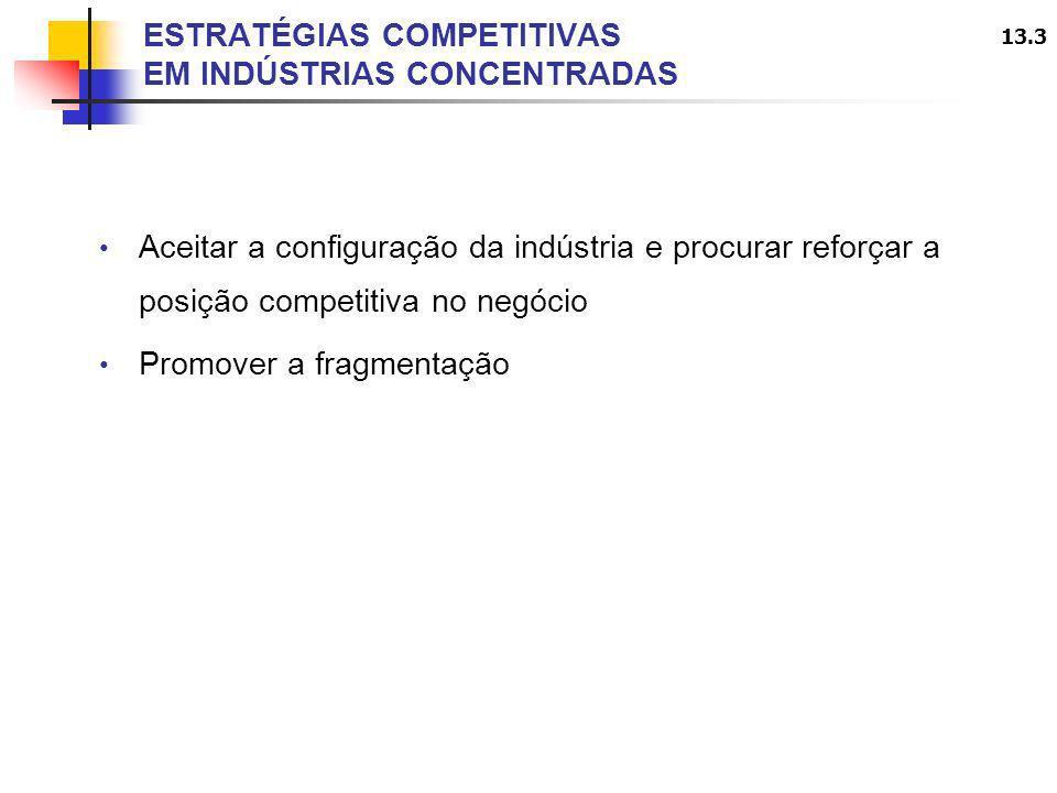 13.3 ESTRATÉGIAS COMPETITIVAS EM INDÚSTRIAS CONCENTRADAS Aceitar a configuração da indústria e procurar reforçar a posição competitiva no negócio Prom