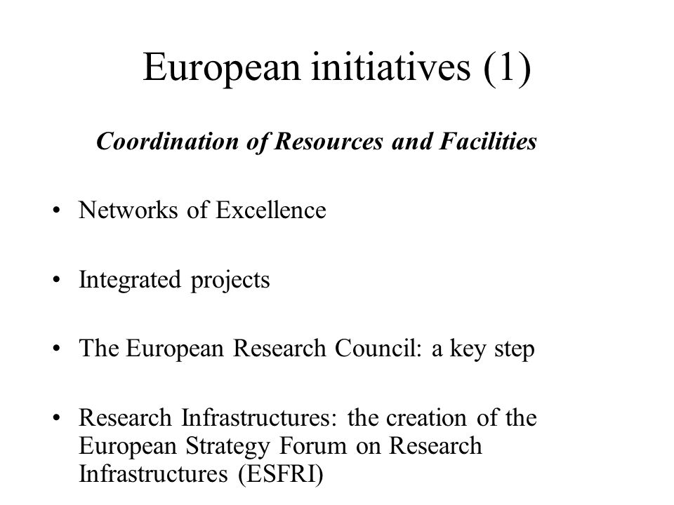 European initiatives (1) Coordination of Resources and Facilities Networks of Excellence Integrated projects The European Research Council: a key step Research Infrastructures: the creation of the European Strategy Forum on Research Infrastructures (ESFRI)