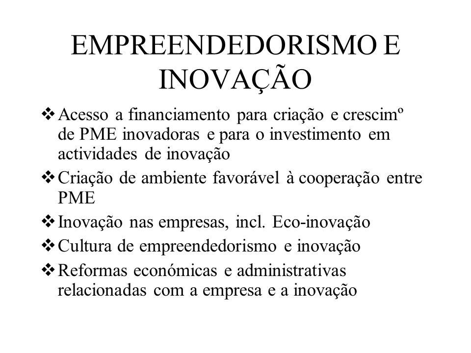 EMPREENDEDORISMO E INOVAÇÃO Acesso a financiamento para criação e crescimº de PME inovadoras e para o investimento em actividades de inovação Criação de ambiente favorável à cooperação entre PME Inovação nas empresas, incl.