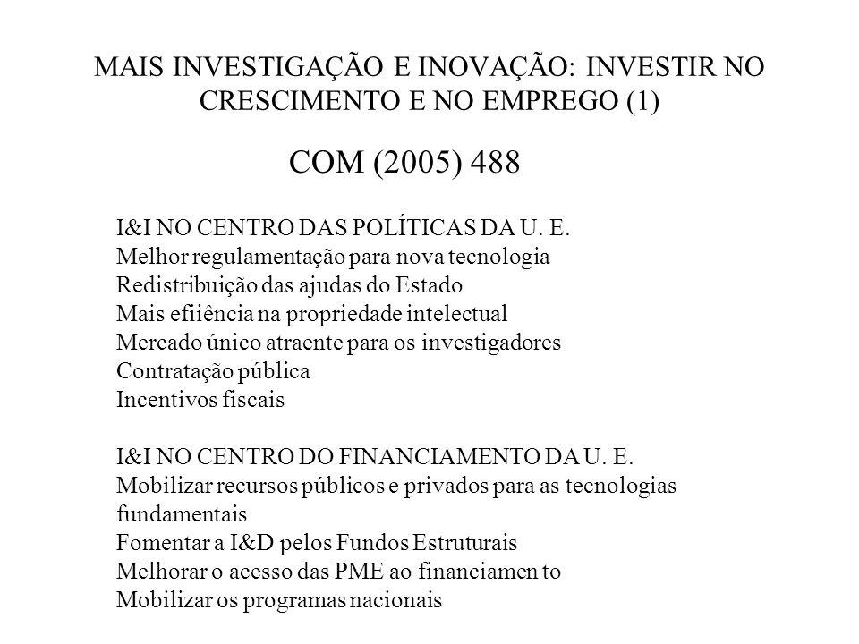 MAIS INVESTIGAÇÃO E INOVAÇÃO: INVESTIR NO CRESCIMENTO E NO EMPREGO (1) COM (2005) 488 I&I NO CENTRO DAS POLÍTICAS DA U.