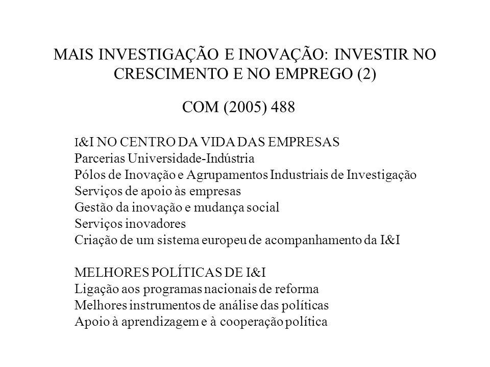 MAIS INVESTIGAÇÃO E INOVAÇÃO: INVESTIR NO CRESCIMENTO E NO EMPREGO (2) COM (2005) 488 I &I NO CENTRO DA VIDA DAS EMPRESAS Parcerias Universidade-Indústria Pólos de Inovação e Agrupamentos Industriais de Investigação Serviços de apoio às empresas Gestão da inovação e mudança social Serviços inovadores Criação de um sistema europeu de acompanhamento da I&I MELHORES POLÍTICAS DE I&I Ligação aos programas nacionais de reforma Melhores instrumentos de análise das políticas Apoio à aprendizagem e à cooperação política
