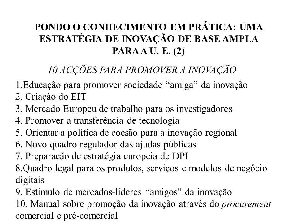 PONDO O CONHECIMENTO EM PRÁTICA: UMA ESTRATÉGIA DE INOVAÇÃO DE BASE AMPLA PARA A U.