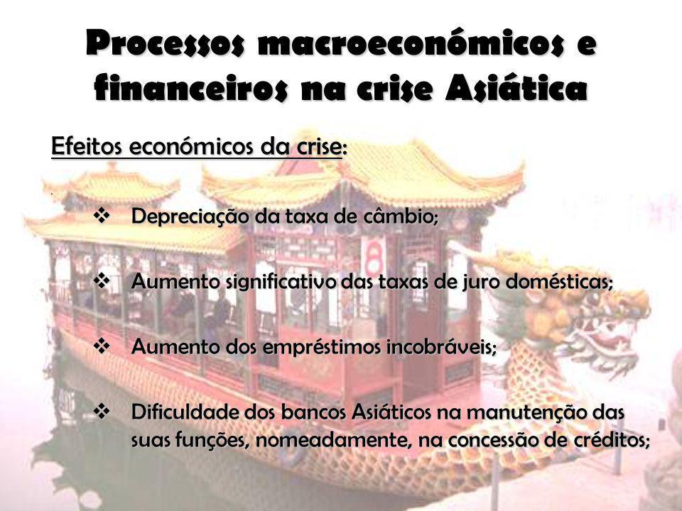 Processos macroeconómicos e financeiros na crise Asiática Efeitos económicos da crise: 0 Depreciação da taxa de câmbio; Depreciação da taxa de câmbio;