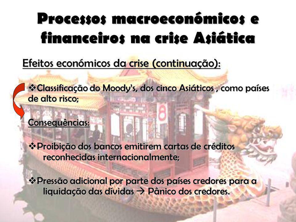 Processos macroeconómicos e financeiros na crise Asiática Efeitos económicos da crise (continuação): Classificação do Moodys, dos cinco Asiáticos, com