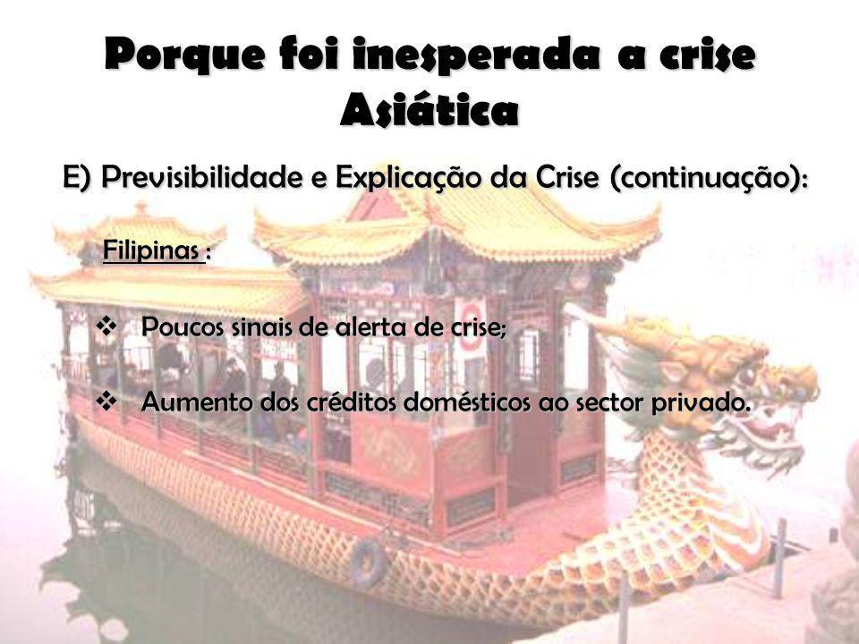 Porque foi inesperada a crise Asiática E) Previsibilidade e Explicação da Crise (continuação): E) Previsibilidade e Explicação da Crise (continuação):