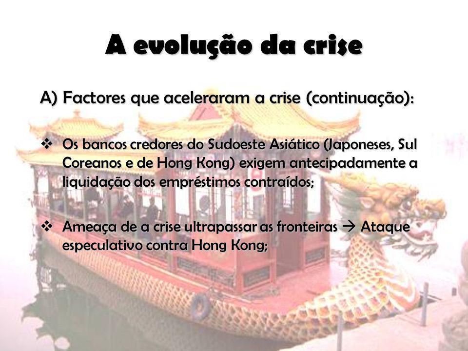 A evolução da crise A) Factores que aceleraram a crise (continuação): Os bancos credores do Sudoeste Asiático (Japoneses, Sul Coreanos e de Hong Kong)