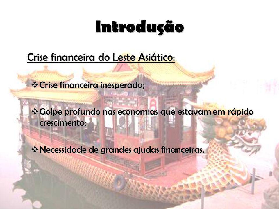 Introdução Crise financeira do Leste Asiático: Crise financeira inesperada; Crise financeira inesperada; Golpe profundo nas economias que estavam em r