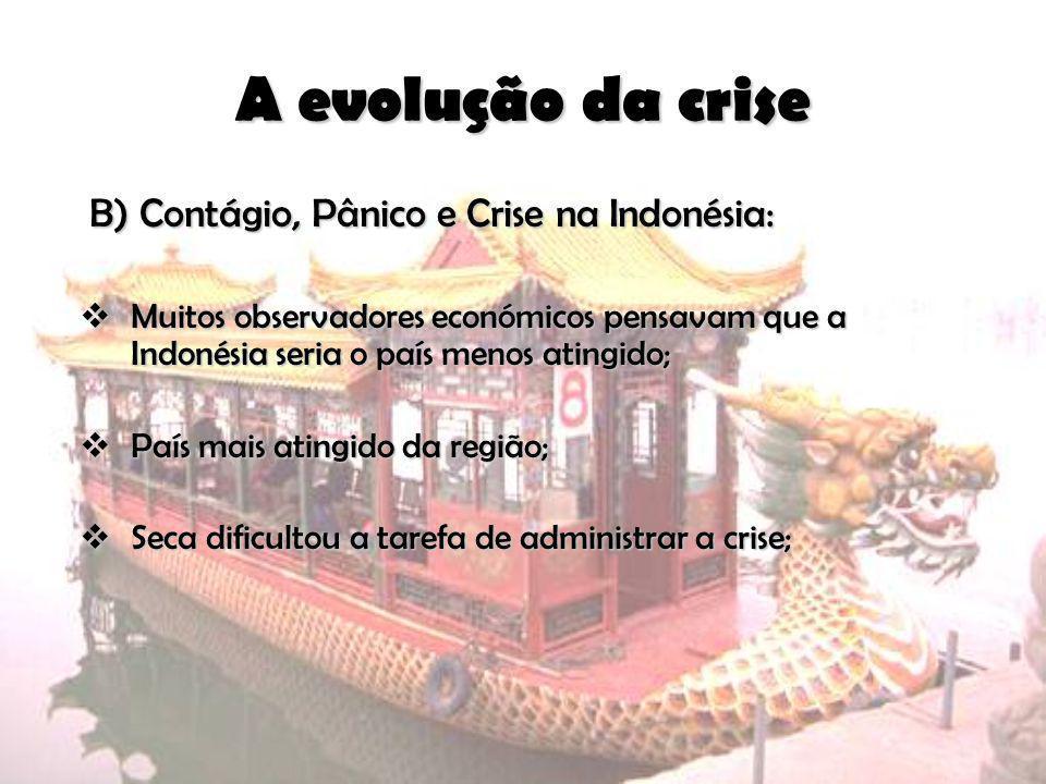 A evolução da crise B) Contágio, Pânico e Crise na Indonésia: B) Contágio, Pânico e Crise na Indonésia: Muitos observadores económicos pensavam que a