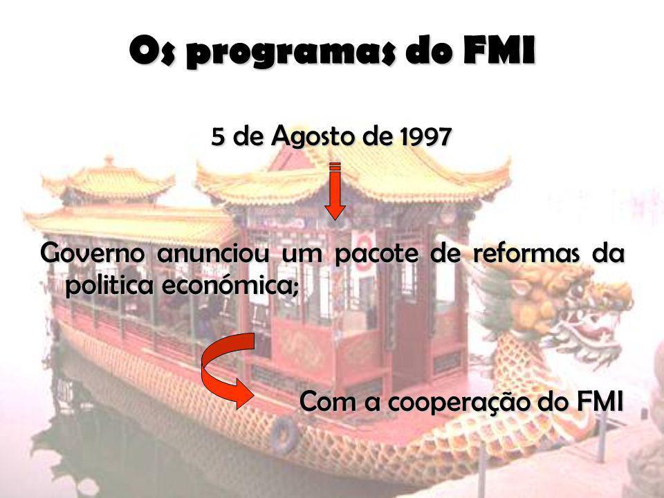 Os programas do FMI 5 de Agosto de 1997 Governo anunciou um pacote de reformas da politica económica; Com a cooperação do FMI