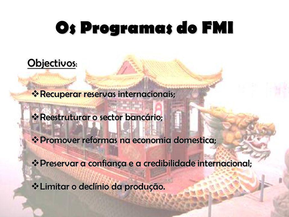 Objectivos : Recuperar reservas internacionais; Recuperar reservas internacionais; Reestruturar o sector bancário; Reestruturar o sector bancário; Pro