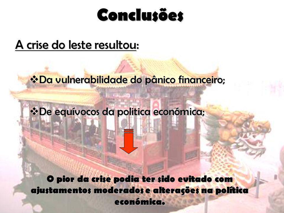 Conclusões A crise do leste resultou: Da vulnerabilidade do pânico financeiro; Da vulnerabilidade do pânico financeiro; De equívocos da politica econó