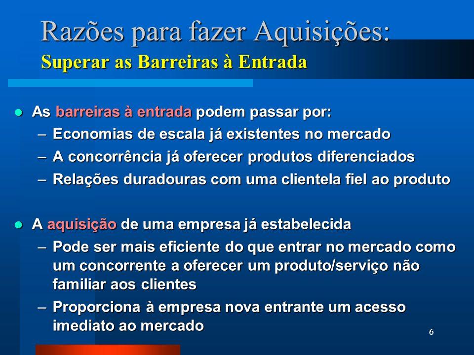 6 Razões para fazer Aquisições: As barreiras à entrada podem passar por: As barreiras à entrada podem passar por: –Economias de escala já existentes n