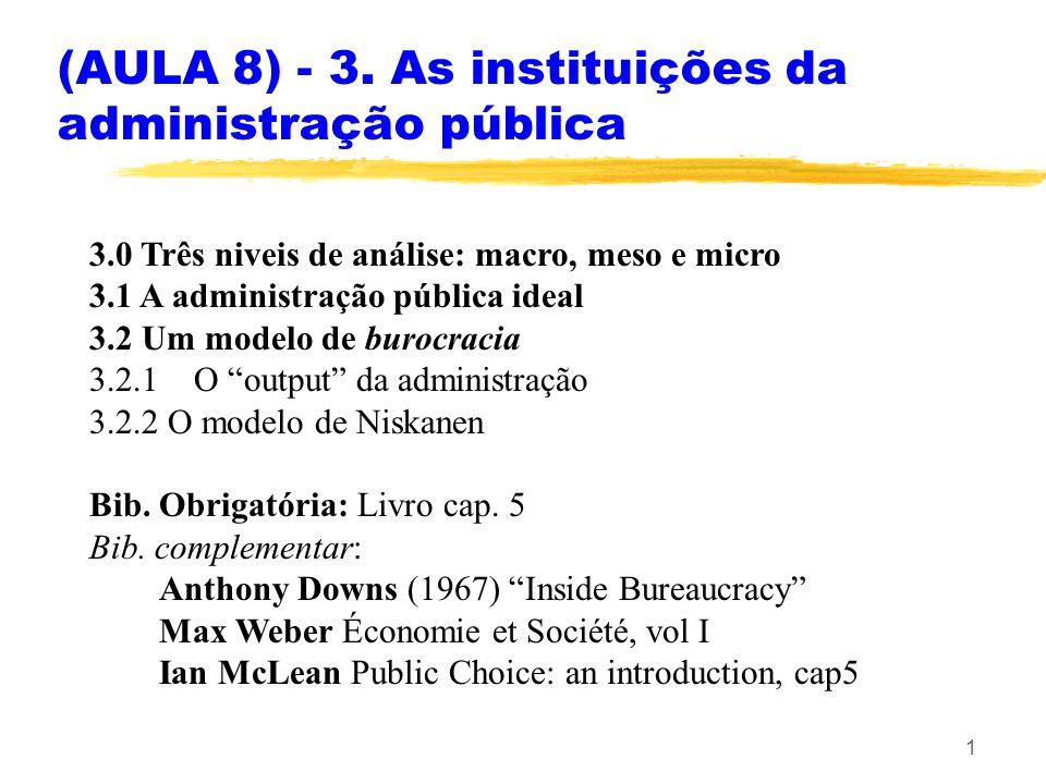 1 3.0 Três niveis de análise: macro, meso e micro 3.1 A administração pública ideal 3.2 Um modelo de burocracia 3.2.1O output da administração 3.2.2 O