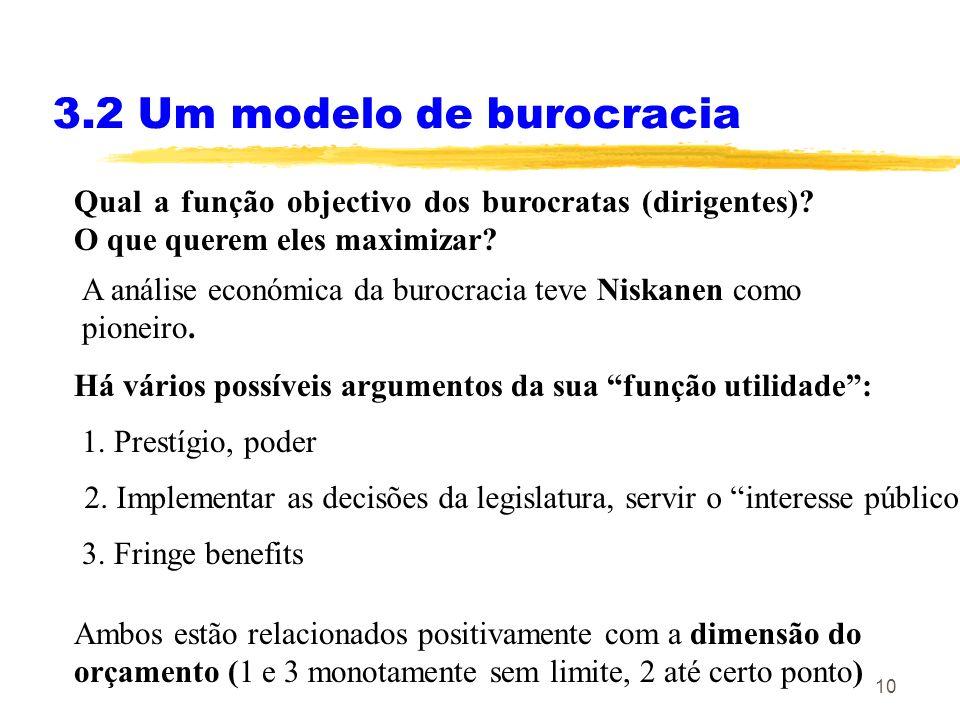 10 3.2 Um modelo de burocracia Qual a função objectivo dos burocratas (dirigentes)? O que querem eles maximizar? A análise económica da burocracia tev