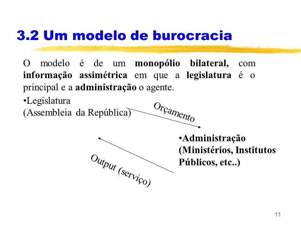 11 3.2 Um modelo de burocracia O modelo é de um monopólio bilateral, com informação assimétrica em que a legislatura é o principal e a administração o