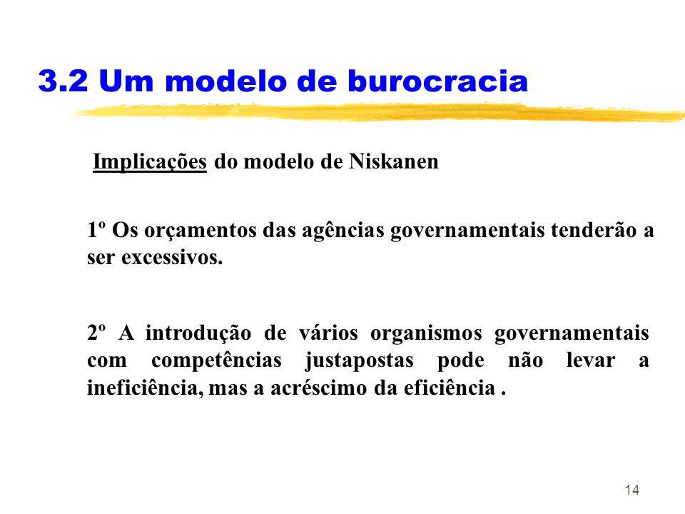 14 3.2 Um modelo de burocracia Implicações do modelo de Niskanen 1º Os orçamentos das agências governamentais tenderão a ser excessivos. 2º A introduç