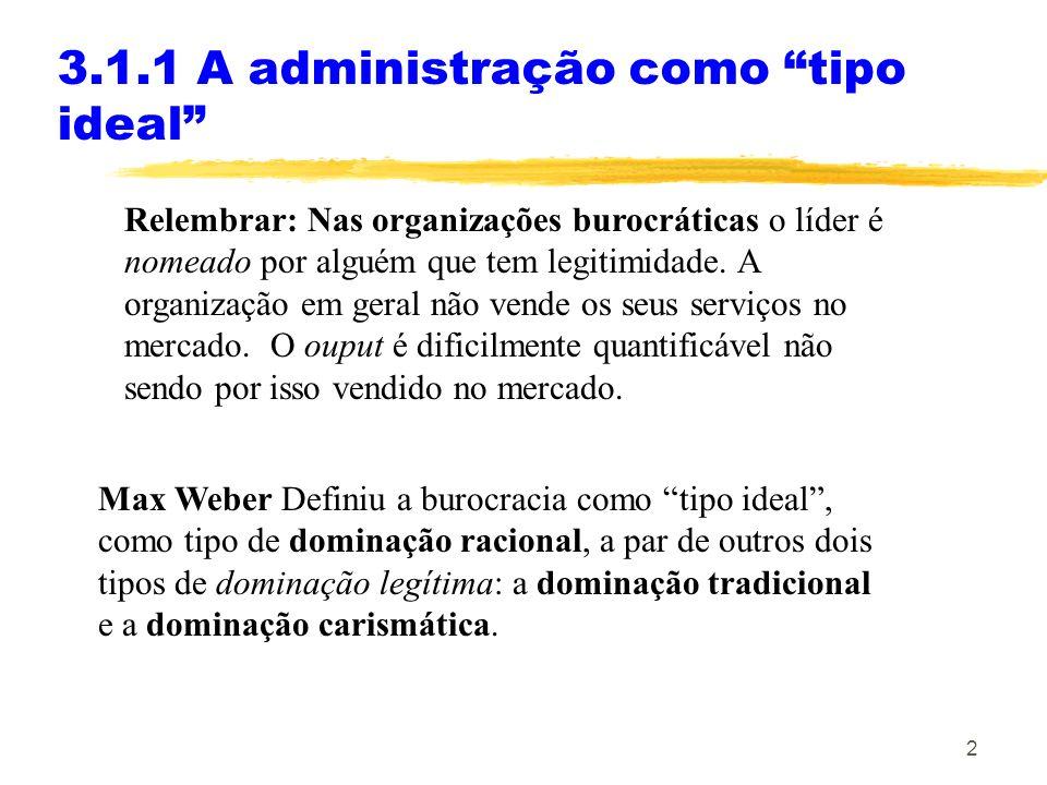 3 O carácter racional, repousa sobre a crença na legalidade dos regulamentos e no direito de dar direcções 3.1.1 A administração como tipo ideal A dominação legal assenta em que: 1.