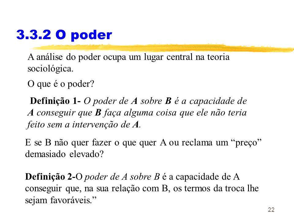 22 3.3.2 O poder A análise do poder ocupa um lugar central na teoria sociológica. O que é o poder? Definição 1- O poder de A sobre B é a capacidade de
