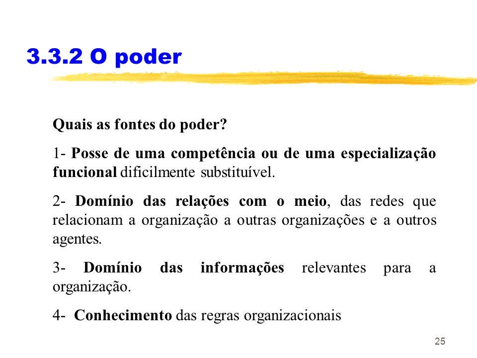 25 3.3.2 O poder Quais as fontes do poder? 1- Posse de uma competência ou de uma especialização funcional dificilmente substituível. 2- Domínio das re