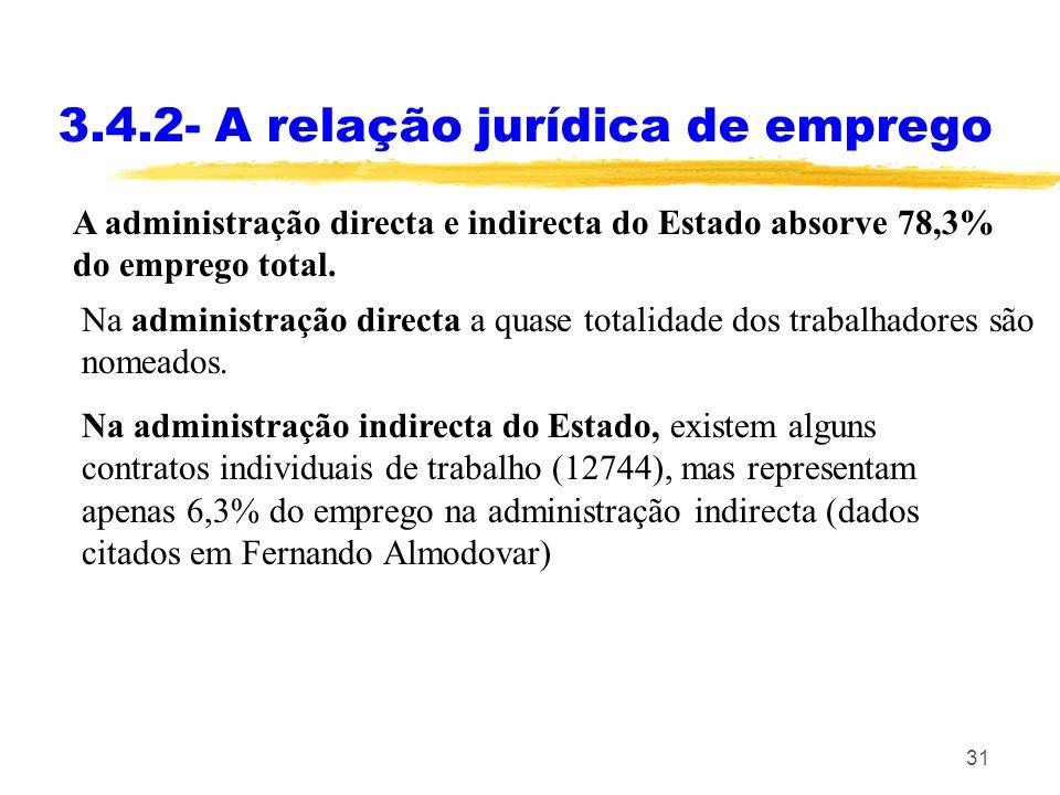 31 3.4.2- A relação jurídica de emprego A administração directa e indirecta do Estado absorve 78,3% do emprego total. Na administração directa a quase