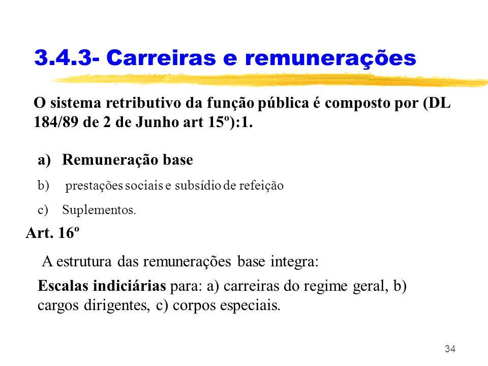 34 3.4.3- Carreiras e remunerações O sistema retributivo da função pública é composto por (DL 184/89 de 2 de Junho art 15º):1. a)Remuneração base b) p