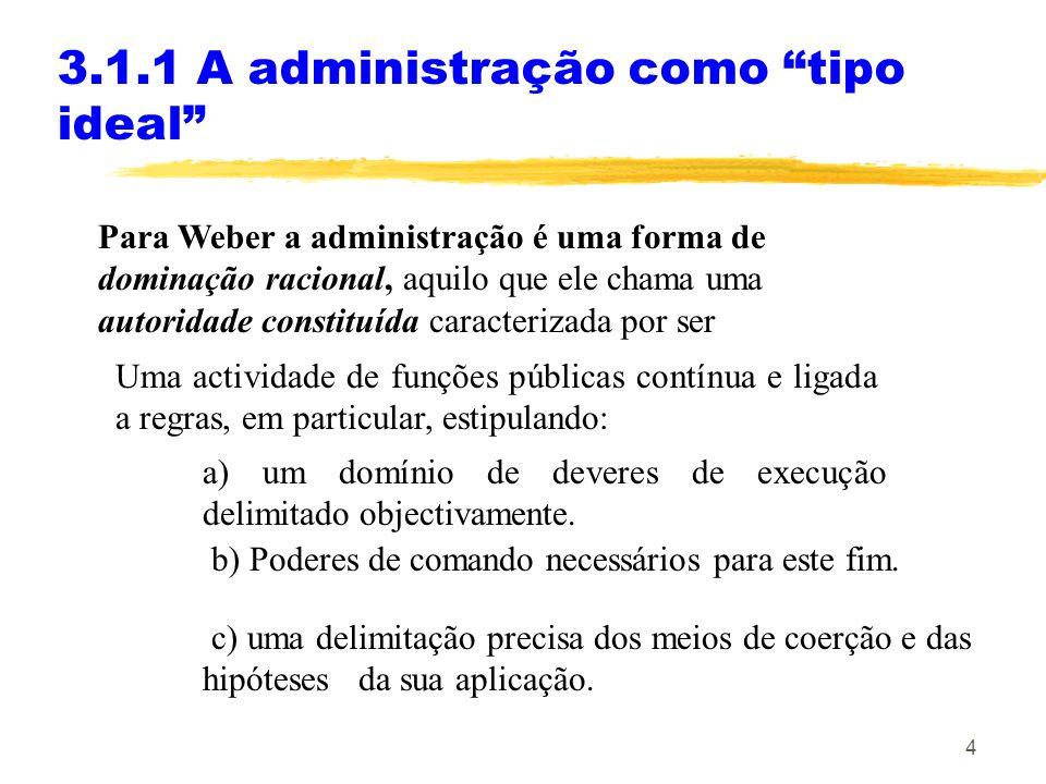 5 3.1.1 A administração como tipo ideal A dominação racional assenta no princípio da hierarquia administrativa: A organização de autoridades precisas de controle e supervisão para toda a autoridade constituída.