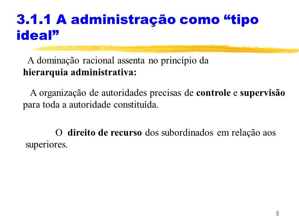5 3.1.1 A administração como tipo ideal A dominação racional assenta no princípio da hierarquia administrativa: A organização de autoridades precisas