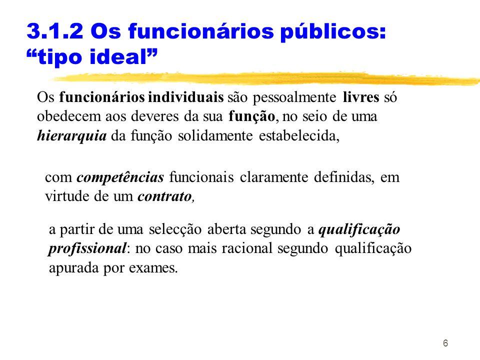 6 3.1.2 Os funcionários públicos: tipo ideal Os funcionários individuais são pessoalmente livres só obedecem aos deveres da sua função, no seio de uma